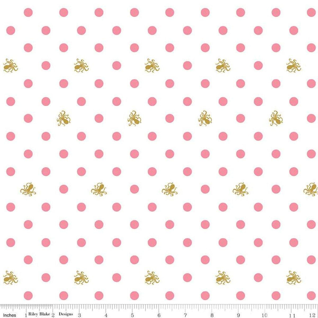 Ahoy! Mermaids White Sparkle Dots  Yardage | SKU #SC10343-WHITE