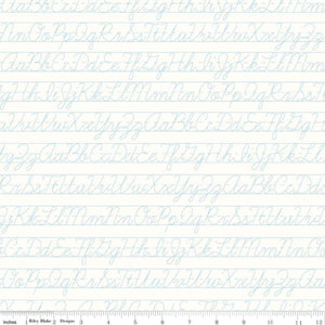 Bee Backgrounds Aqua Penmanship Yardage (C6388 AQUA)