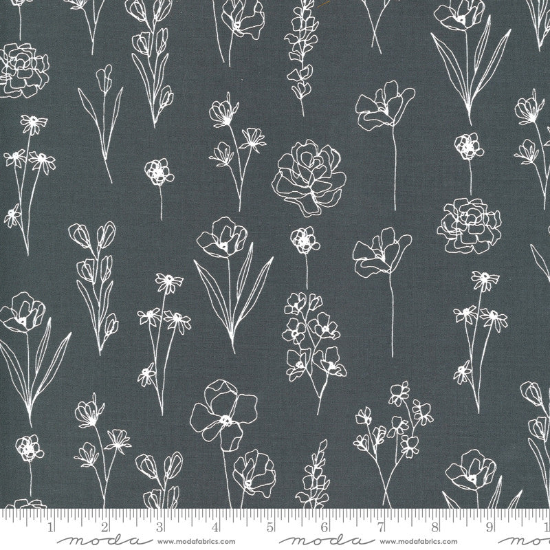 Illustrations Graphite Floral Doodle Yardage | SKU #11505-24
