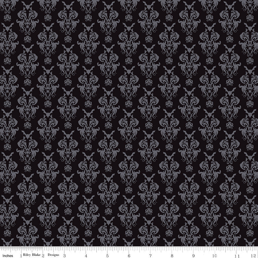 Spooky Hollow Black Damask Yardage | SKU #C10571-BLACK