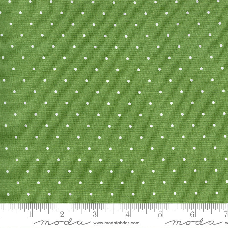 Sunday Stroll White Dots on Green Yardage by Bonnie & Camille | SKU #55226 20