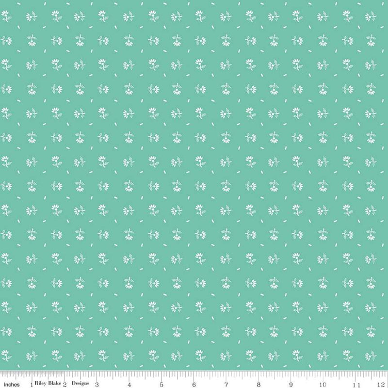 Prim Sea Glass Daisy Yardage (C9694 SEAGLASS)