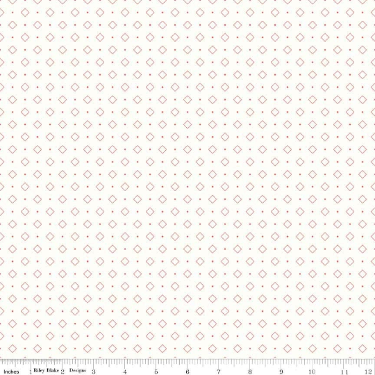 Lori Holt Bee Backgrounds Coral Diamond Yardage (C6386 CORAL)