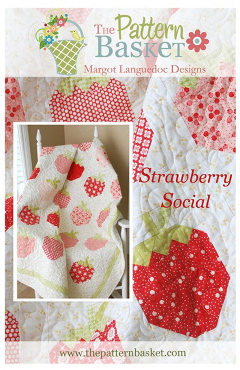 Strawberry Social Quilt Pattern by The Pattern Basket - Strawberry Quilt - Fat Quarter Friendly