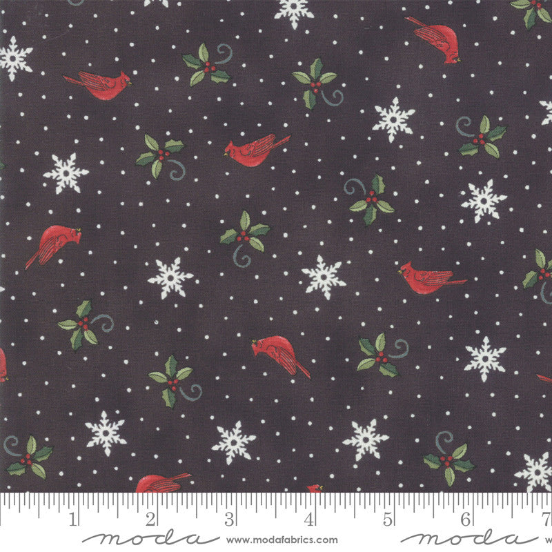 Homegrown Holidays Farm Black Cardinals and Greenery Yardage (19945 16)
