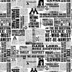 Harry Potter White Newsprint Yardage (23800120) Harry Potter Fabric