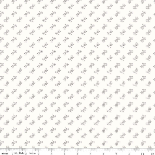 Lori Holt Bee Backgrounds Gray Bicycle Yardage (C6389 GRAY)
