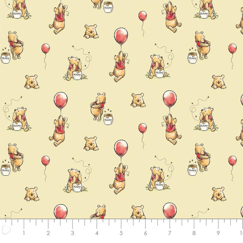 Winnie The Pooh Classic Balloon Yardage by Camelot Fabrics (85430503) Quilting Fabric Cut Options Available
