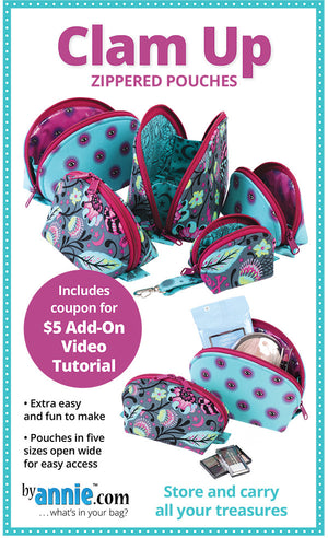 Clam Up Zippered Pouches Pattern