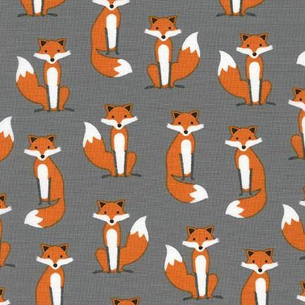 Andie Hanna's Grey Fabulous Foxes Yardage (15680 12)