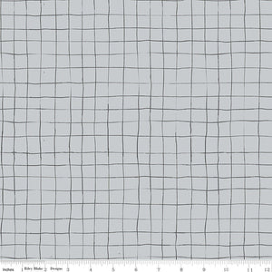 Scaredy Cat Gray Grid Yardage by Amanda Niederhauser (C9416 GRAY)