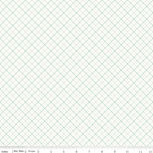 Bee Backgrounds Teal Grid Yardage (C6383 TEAL)