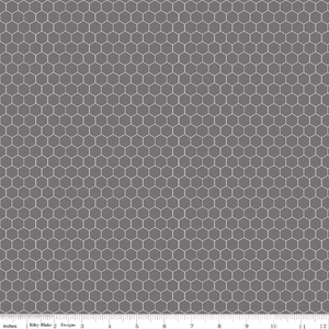 Farm Girl Vintage Companion Prints Steel Honeycomb Yardage (C8742 STEEL)