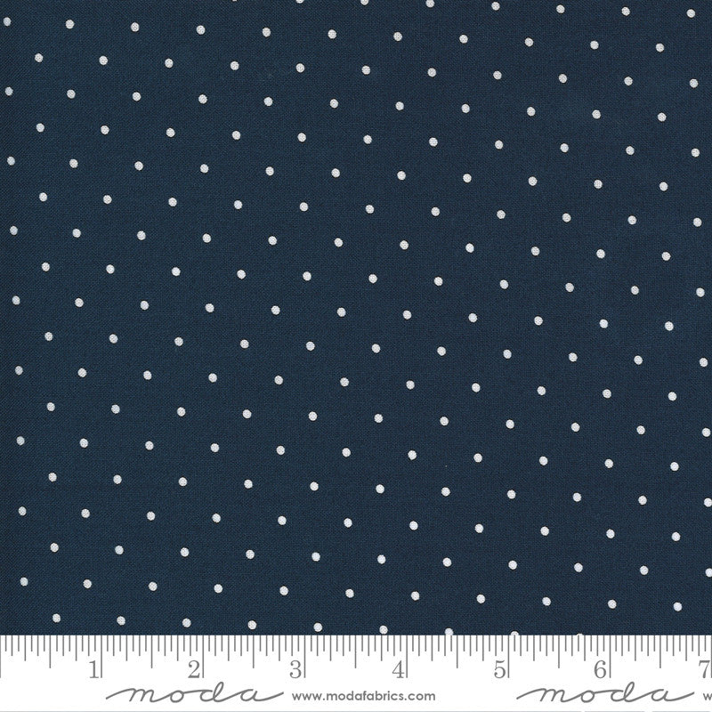 Sunday Stroll White Dots on Navy Yardage by Bonnie & Camille | SKU #55226 15