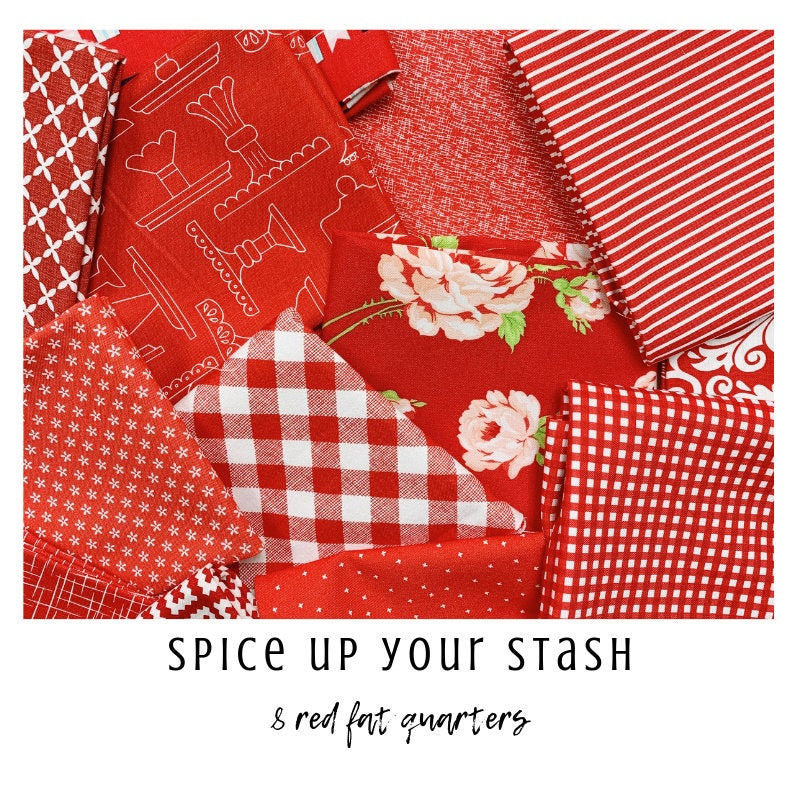 Spice Up Your Stash - 8 Red Fat Quarters - Curated Fat Quarter Bundle by our shop - Color Your Stash