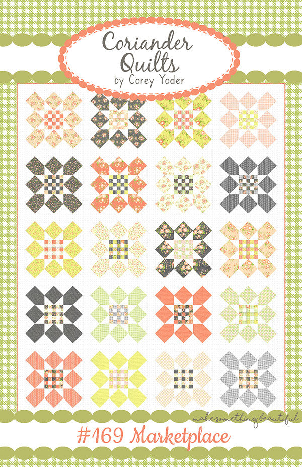 Marketplace Quilt Pattern using Apricot and Ash