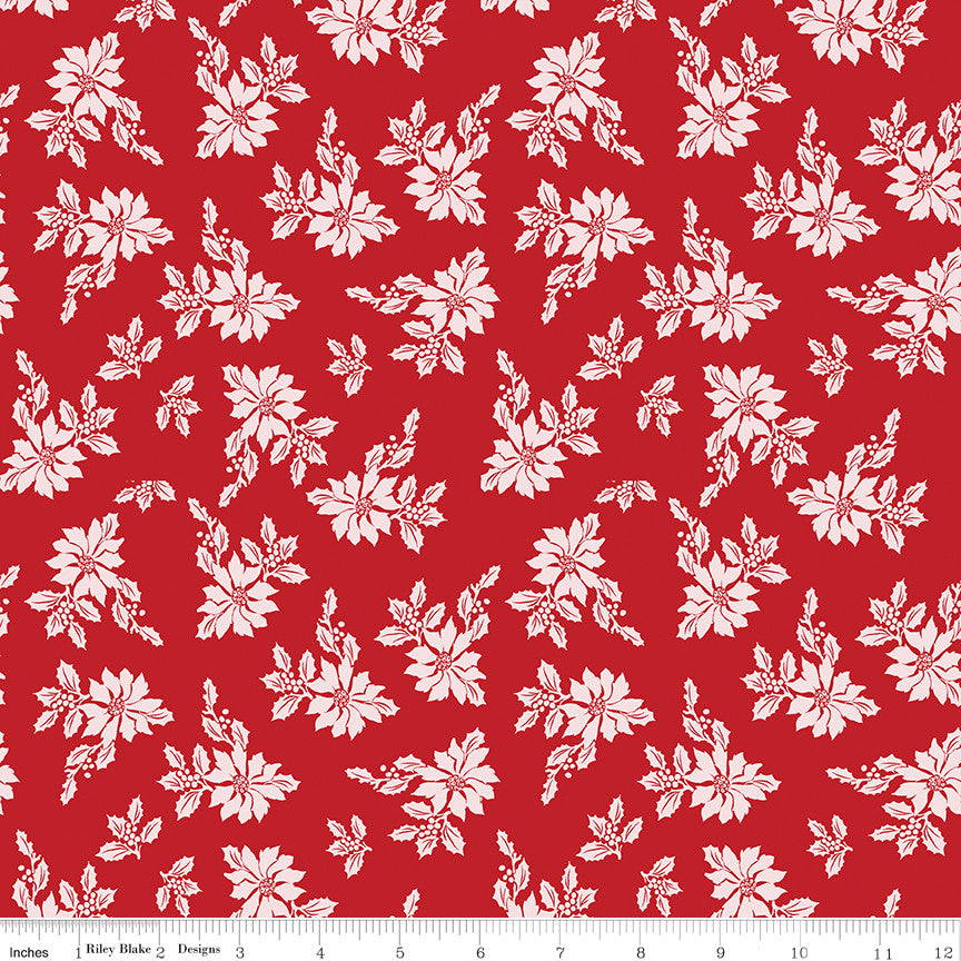 Santa Claus Lane Red Poinsettias Yardage C9611