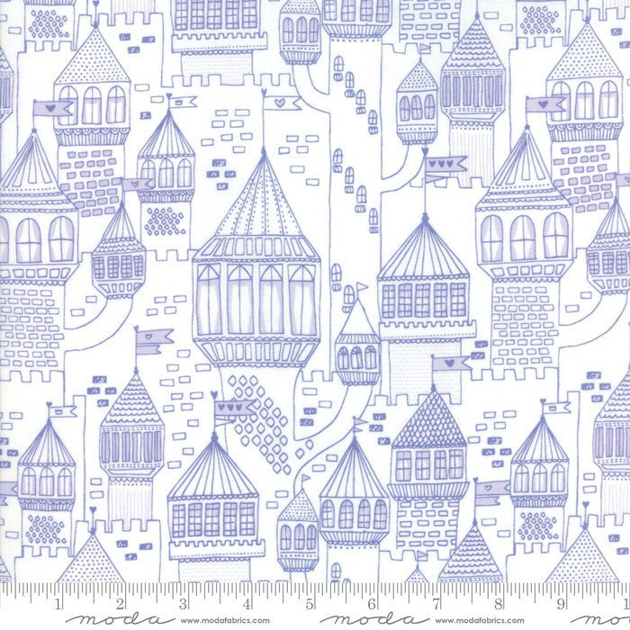 Once Upon a Time White Periwinkle Castle on a Hill Yardage by Stacy Iest Hsu for(20595 21)