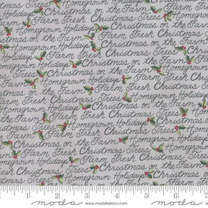 Homegrown Holidays Silo Grey Holiday Handwriting Yardage (19943 12)