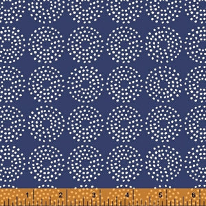 Backyard Blooms Navy Circle Dots Yardage (51822-1)