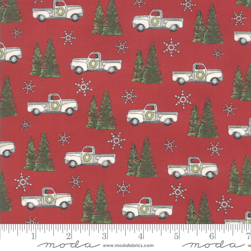 Homegrown Holidays Barn Red Trucks and Trees Yardage (19942 13)
