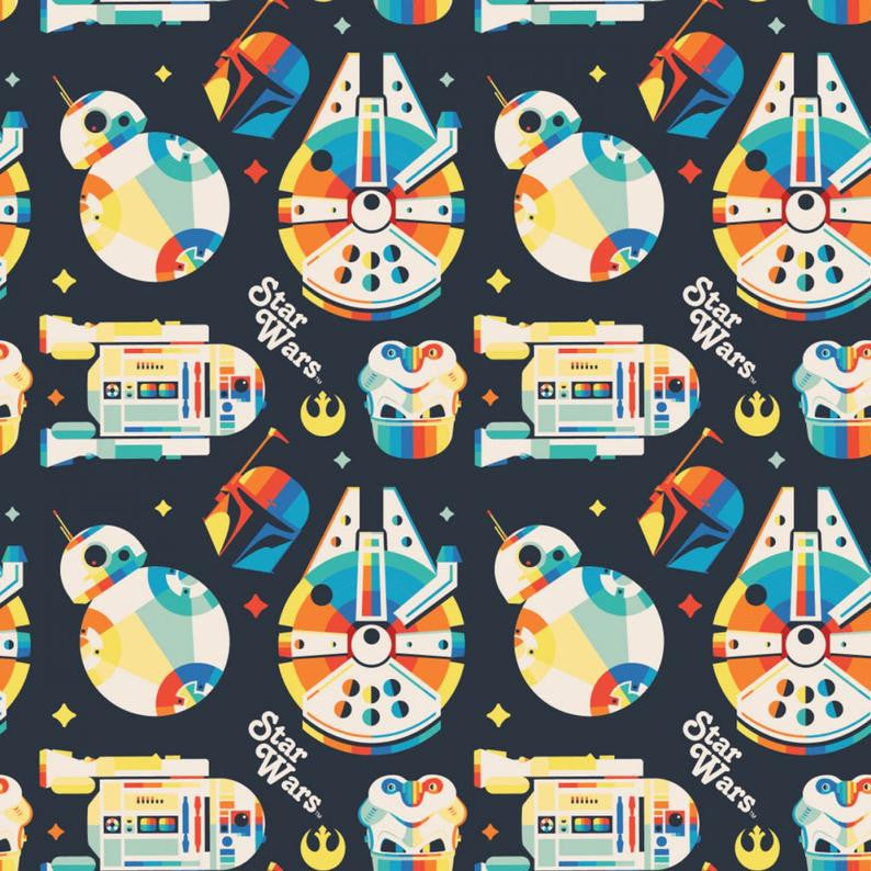 Star Wars Retro Throwback Rainbow Icon Yardage (731010910) Star Wars Fabric