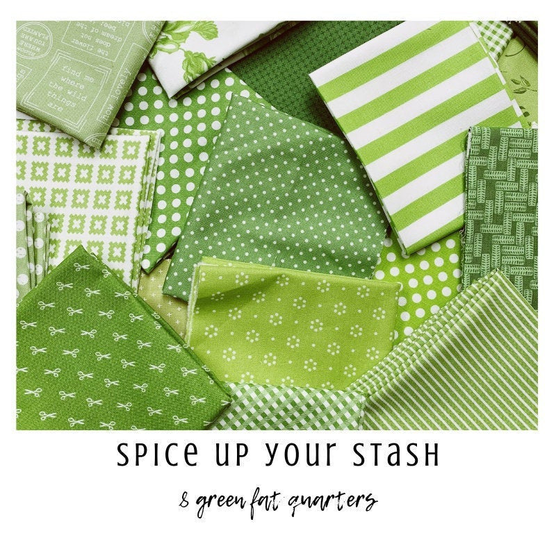 Spice Up Your Stash - 8 Green Fat Quarters - Curated Fat Quarter Bundle by our shop - Color Your Stash