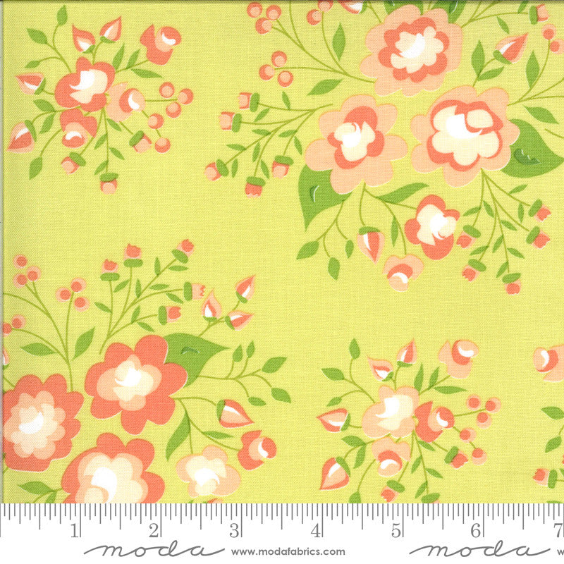 Apricot & Ash Light Lime Rose Garden Yardage (29101 17)