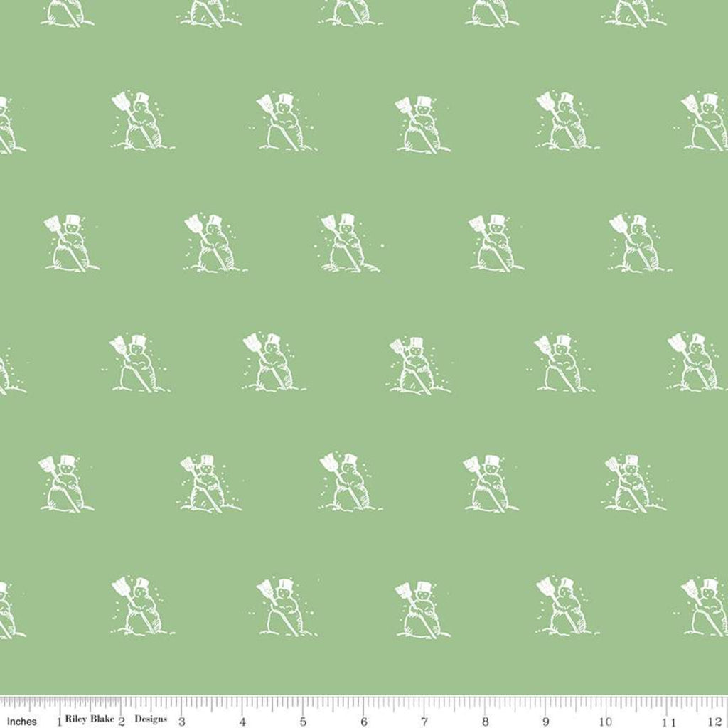 Snow Sweet Green Small Snowmen Yardage (C9664 GREEN)