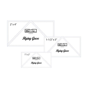 "Flying Geese Ruler Set 6 includes: 1x2"", 1-1/2""x3"", 2""x4"""