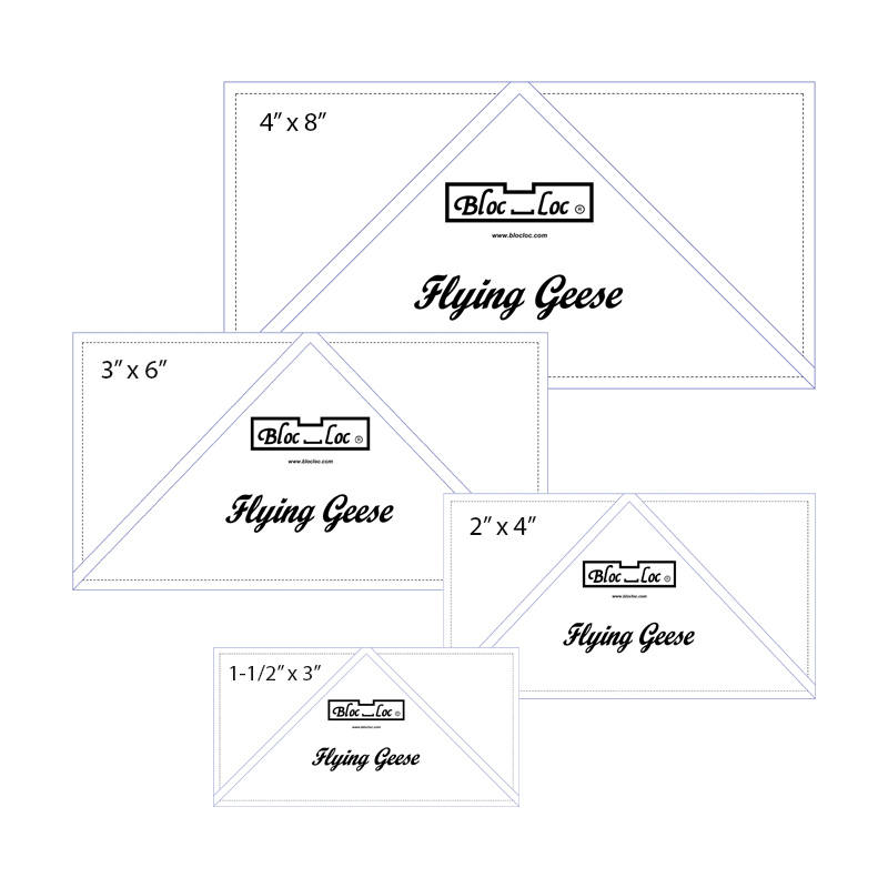 "Flying Geese Ruler Set 1 includes: 1-1/2""x3"", 2""x4"", 3""x6"", 4""x8"""