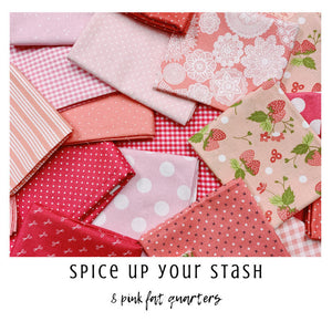 Spice Up Your Stash - 8 Pink Fat Quarters - Curated Fat Quarter Bundle by our shop - Color Your Stash