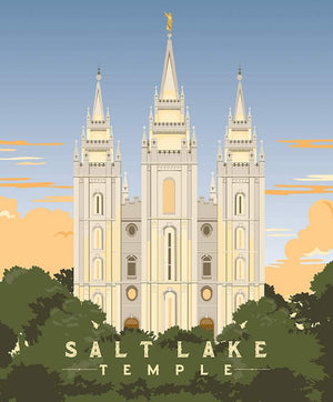 Salt Lake Temple Panel by Amanda Herring (P9860 SALTLAKE) Perfect Wedding Gift!