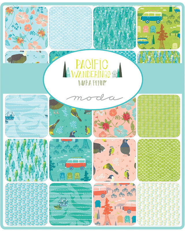 Pacific Wanderings Seafoam Rainbows by Mara Penny for Moda (13325 11) Cut Options Available