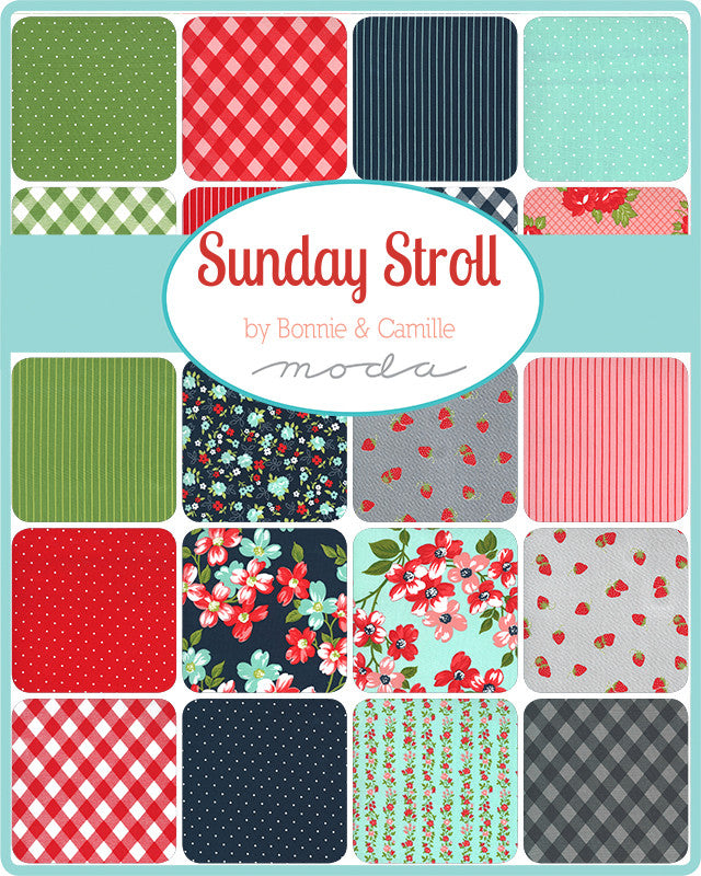 Sunday Stroll White Dots on Aqua Yardage by Bonnie & Camille | SKU #55226 14