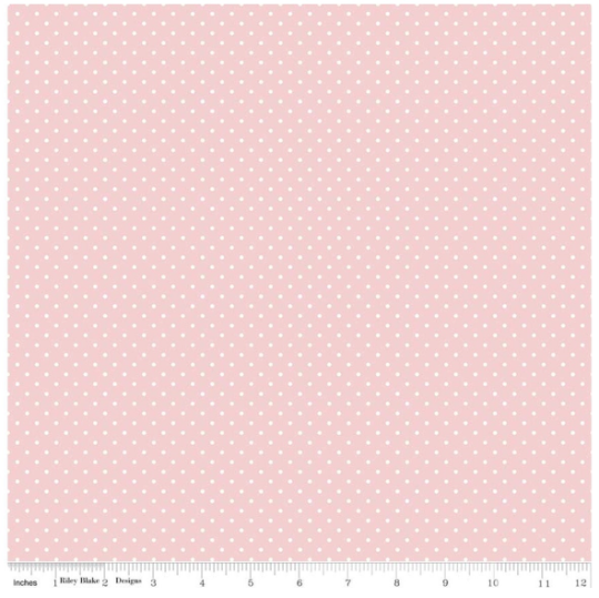 White Swiss Dot on Baby Pink Yardage (C670 BABYPINK) Printed Dots, Not Raised!