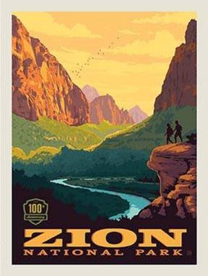 "Zion National Park Poster Panel - 36"" x 43 1/2"" - Riley Blake Designs (P8785-ZION) - National Park Fabric"