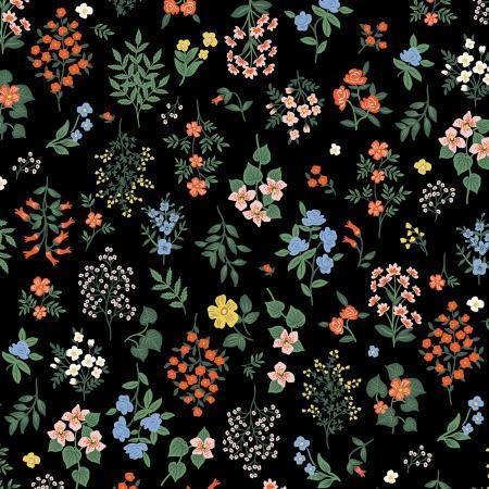 Rifle Paper Strawberry Fields Black Hawthorne Yardage | SKU #RP401-BK1 - Stitches n Giggles