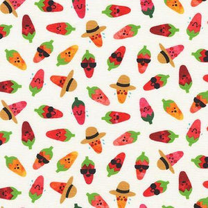 Chili Smiles Ivory Hot Peppers Yardage | SKU #20006-15