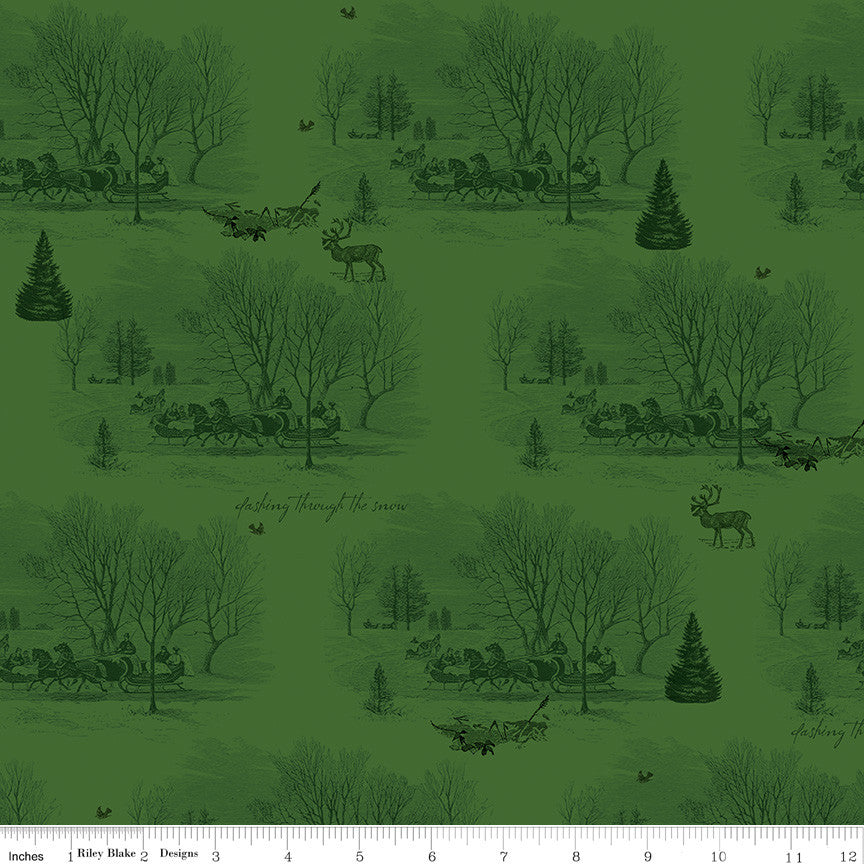 Yuletide Green Sleigh Toile Yardage C9631 GREEN
