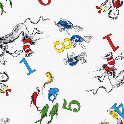 Dr. Seuss White 123 Yardage (74438 1) Official Licensed Fabric