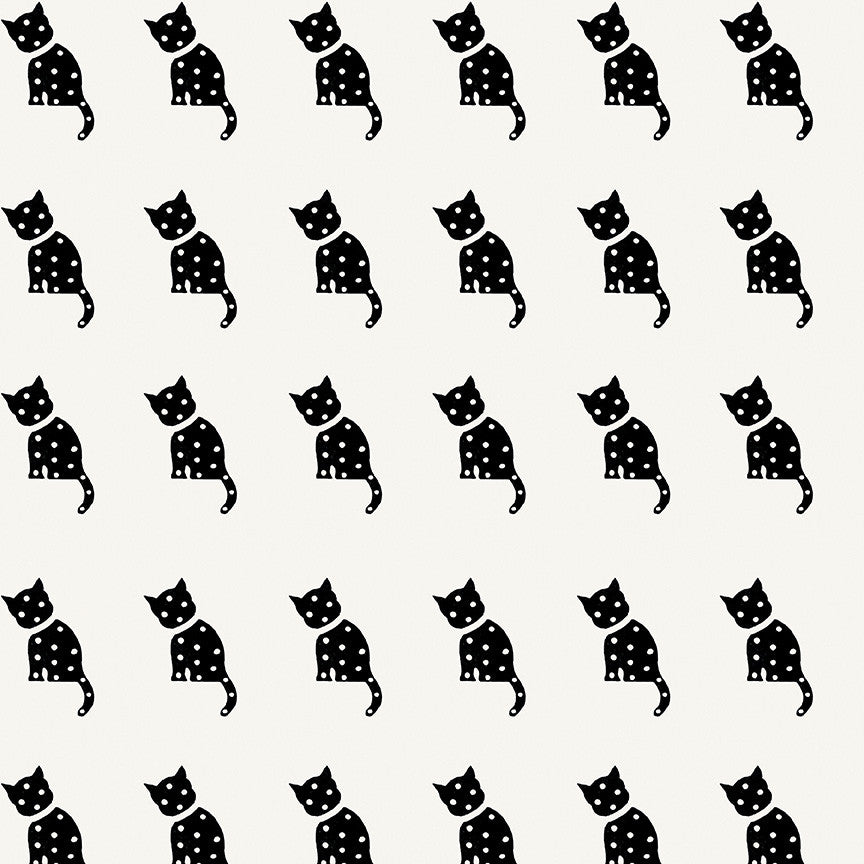Old Made White Cat Stamp Yardage | SKU #C10599 WHITE