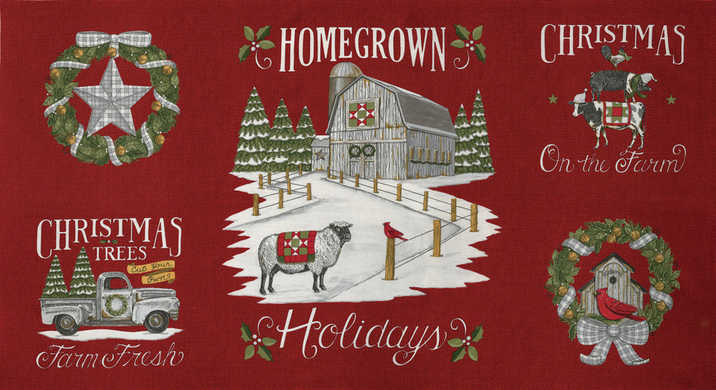 Homegrown Holidays Barn Red Panel (19940 13)