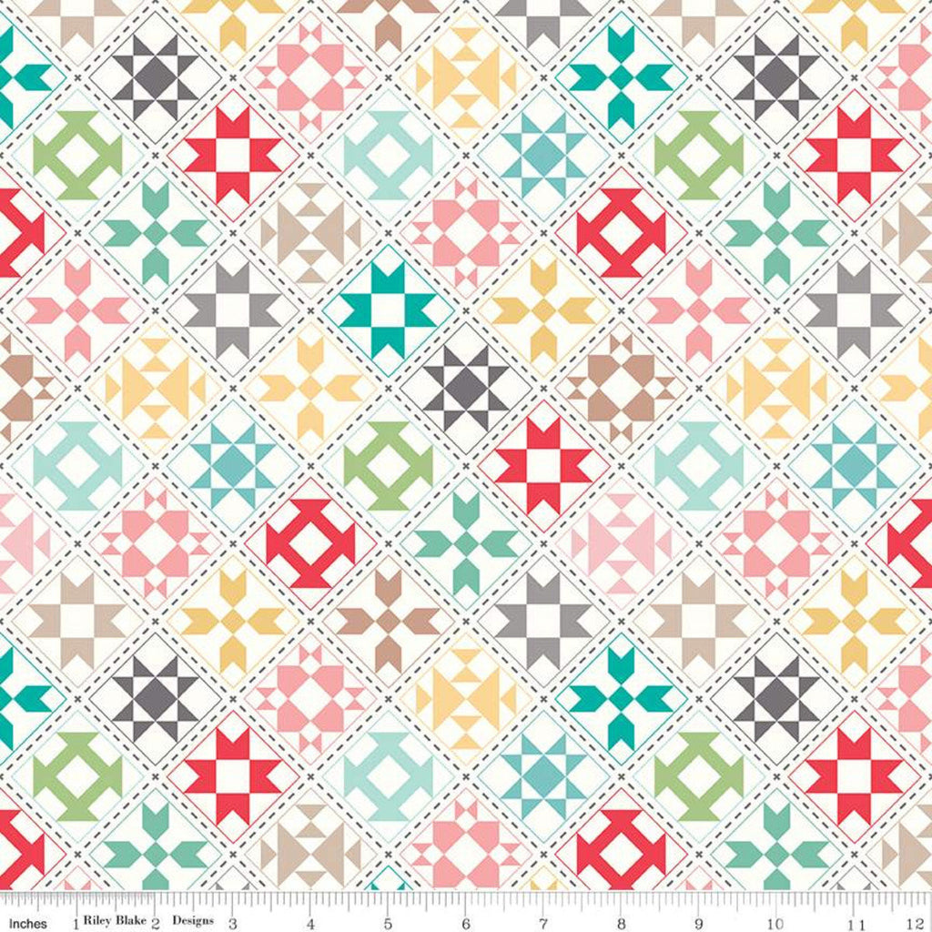 "Lori Holt My Happy Place Home Decor Cream Quilt Blocks Yardage - 54"" Wide (HD9314 CREAM) - Lightweight Canvas"