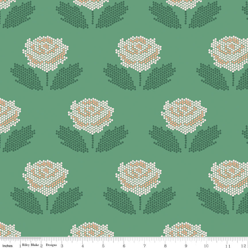 New Dawn Green Stitch Yardage (C9852 GREEN)