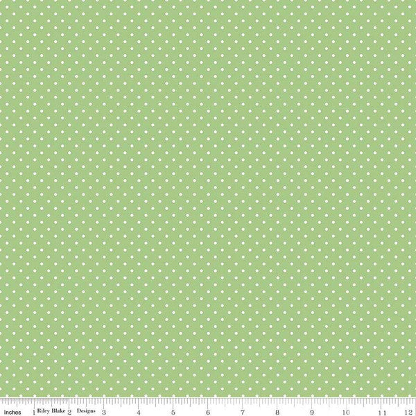 White Swiss Dot on Green Yardage (C670 GREEN) - Printed Dot, Not Raised!