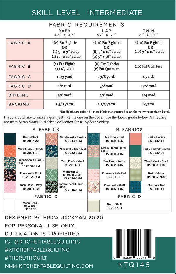 The Ruth Quilt Pattern by Kitchen Table Quilting - Stitches n Giggles