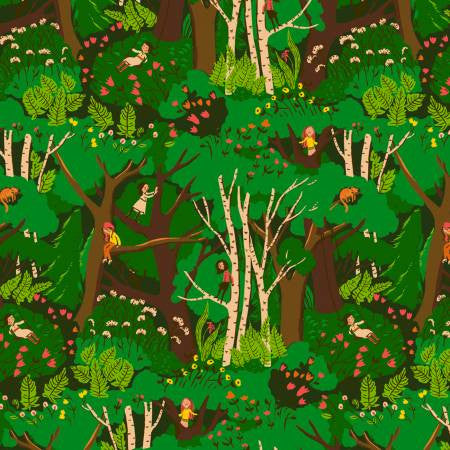 Heather Ross Green Climbing Trees Yardage (40927A-2)