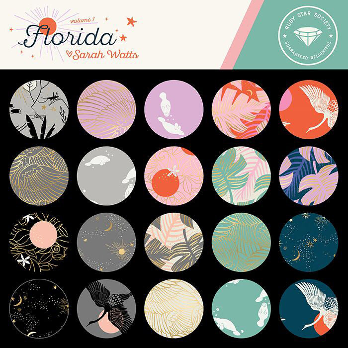 Florida Macaron Manatees Yardage (RS2027 12) Ruby Star Society - Cut Options