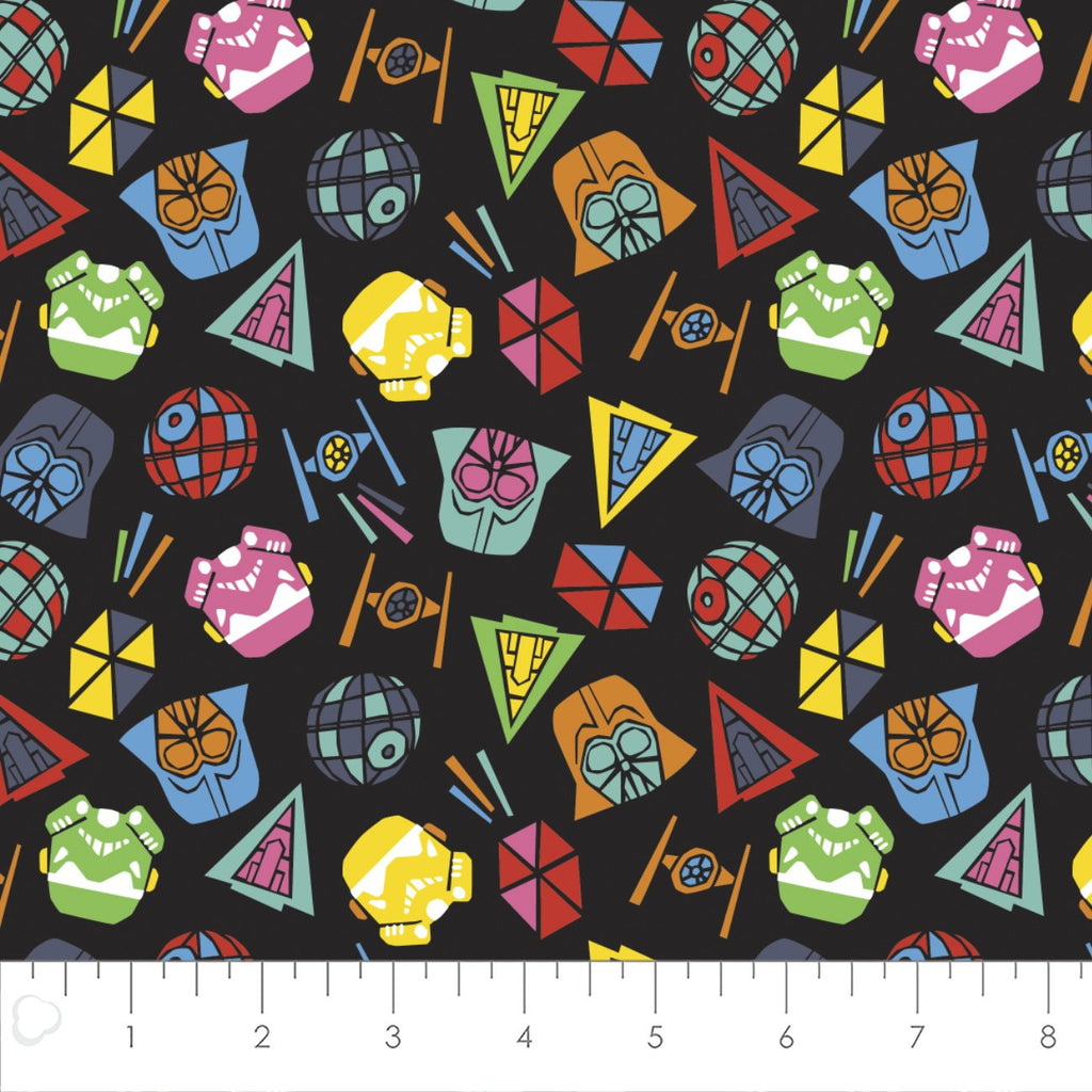 Star Wars Black Tossed Icons Yardage (7301101) Star Wars Fabric
